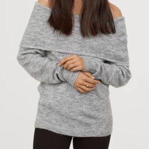 H&M Grey Off Shoulder Sweater